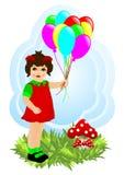 Petite fille avec des baloons Illustration Stock