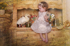 Petite fille avec des canetons Images libres de droits