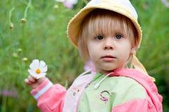 Petite fille avec des fleurs, 2.5 ans Photo stock