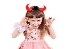 Petite fille avec des klaxons de diable Photo libre de droits