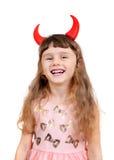 Petite fille avec des klaxons de diable Image stock