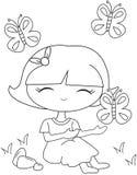 Petite fille avec des papillons de vol colorant la page Images libres de droits