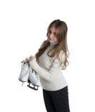 Petite fille avec des patins d'isolement Image libre de droits