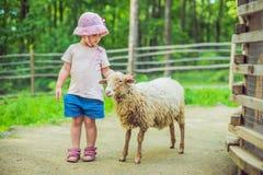 Petite fille avec l'agneau à la ferme Images libres de droits