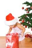 Petite fille avec l'arbre de présent et de Noël image libre de droits