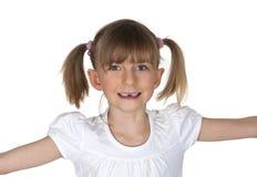 Petite fille avec l'espace de dent Photos stock