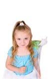 Petite fille avec la baguette magique magique Photographie stock