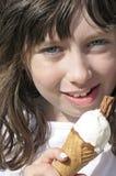Petite fille avec la crême glacée Photos libres de droits