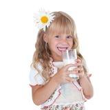 Petite fille avec la moustache de lait Image stock