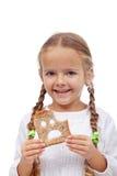 Petite fille avec la part de pain Images libres de droits