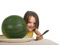 Petite fille avec la pastèque Photographie stock