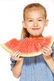 Petite fille avec la pastèque Image stock
