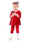 Petite fille avec la verticale de téléphone. Photographie stock libre de droits
