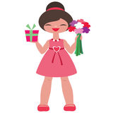 Petite fille avec le cadre de cadeau Images libres de droits
