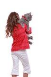 Petite fille avec le chat Image libre de droits