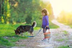 Petite fille avec le chien Photos stock