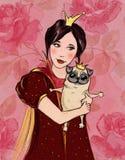 Petite fille avec le chien illustration stock