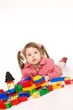 Petite fille avec le kit de construction Images libres de droits