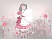 Petite fille avec le lapin pelucheux blanc Image stock