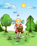 Petite fille avec le panier des champignons de couche Illustration de Vecteur