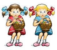 Petite fille avec le panier des oeufs Illustration Stock