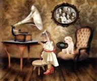Petite fille avec le phonographe Images libres de droits
