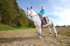 Petite fille avec le poney image stock