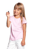 Petite fille avec le repère image stock