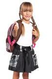Petite fille avec le sac à dos Images libres de droits