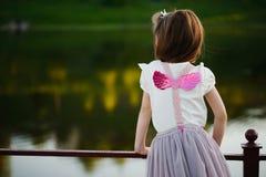 Petite fille avec les ailes roses photos stock