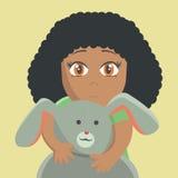 Petite fille avec les lièvres illustration stock