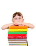 Petite fille avec les livres Photo stock