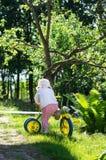 Petite fille avec sa bicyclette au parc Photographie stock libre de droits