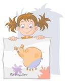 Petite fille avec son dessin Photo stock