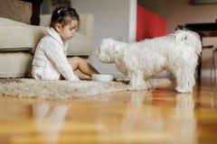 Petite fille avec un chien Image libre de droits
