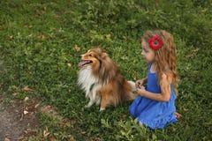 Petite fille avec un chien Sheltie Photos stock