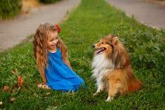 Petite fille avec un chien Sheltie Photographie stock libre de droits