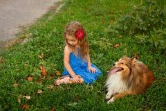 Petite fille avec un chien Sheltie Image stock