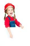 Petite fille avec un panneau blanc photo stock