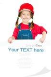 Petite fille avec un panneau blanc photographie stock libre de droits
