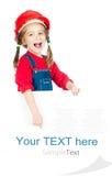 Petite fille avec un panneau blanc images stock