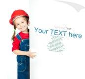 Petite fille avec un panneau blanc images libres de droits