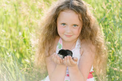 Petite fille ayant l'amusement jouant avec le canard ou le poulet images libres de droits