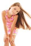 Petite fille blonde avec le long cheveu Images libres de droits