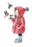 Petite fille d'aquarelle avec des bouvreuils Image stock