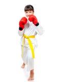Petite fille dans des gants de boxe image libre de droits