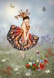 Petite fille dans des papillons d'une robe Photographie stock