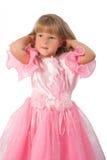 Petite fille dans la robe rose Images stock