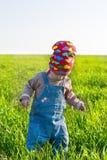 Petite fille dans le bandana rouge dans l'herbe riche moyenne Image stock