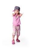Petite fille dans le bandana sur le blanc Photos libres de droits